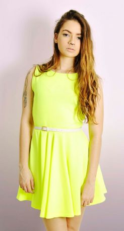 Neon Belted Skater Dress
